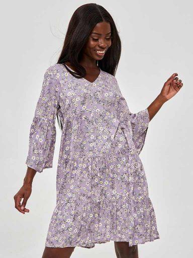 Sukienka fioletowa mini w kwiatowy print Katarina Ivanenko