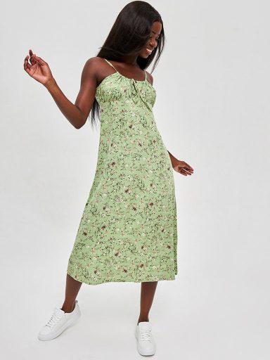 Oliwkowa sukienka midi w kwiatowy print z wiązaniem na piersi Love&Live