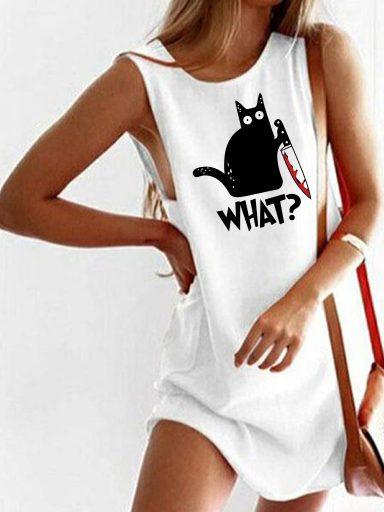 """Sukienka koszulkowa biała CAT SAYS """"WHAT?""""D Love&Live"""