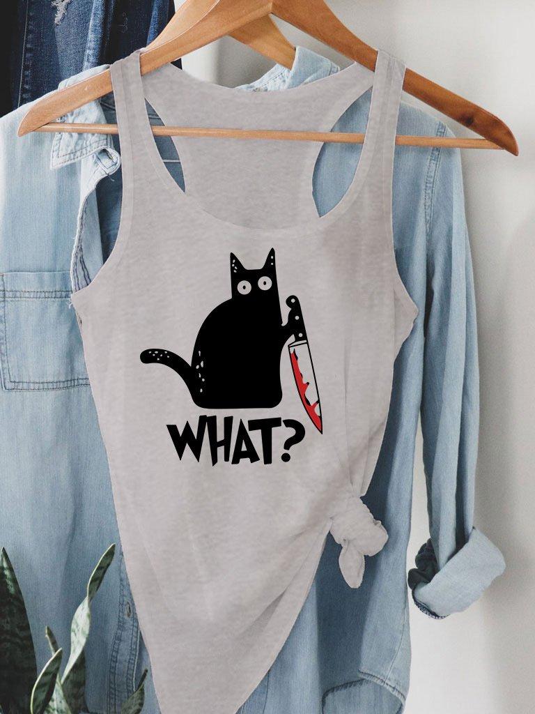 "Szara koszulka na ramiączkach CAT SAYS ""WHAT?"" Love&Live"