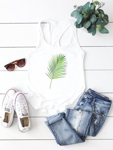 Biała koszulka na ramiączkach GREEN Love&Live