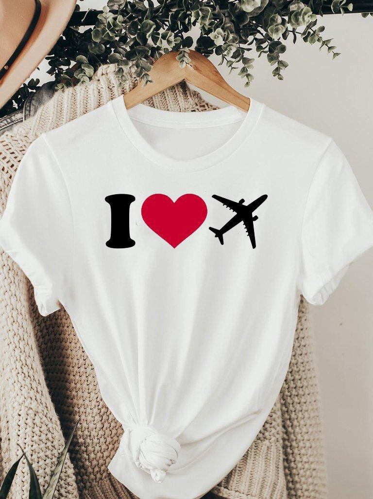 T-shirt biały I LOVE TO FLY ZUZU