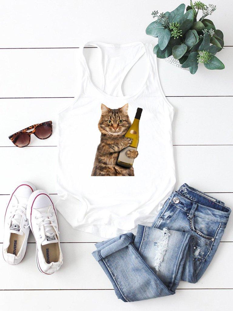 Biała koszulka na ramiączkach IT'S MY CAT, BABY! Love&Live