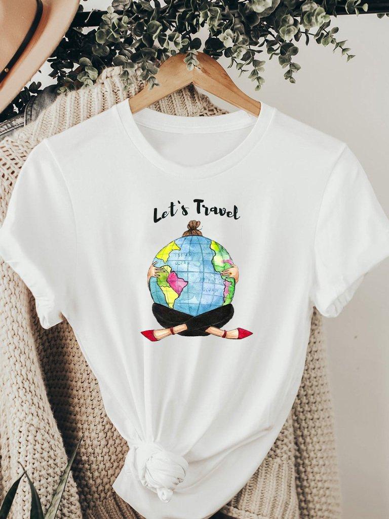 T-shirt biały LET'S TRAVEL ZUZU