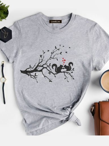 T-shirt szary LOVE SQUIRRELS Love&Live