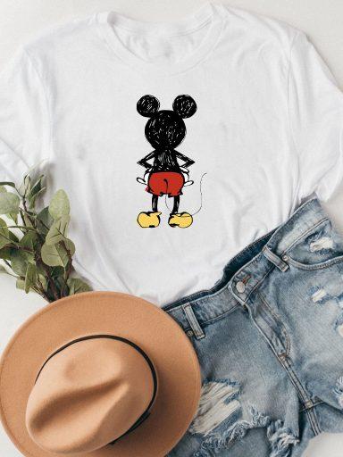 T-shirt biały MICKEY FROM BACK Katarina Ivanenko