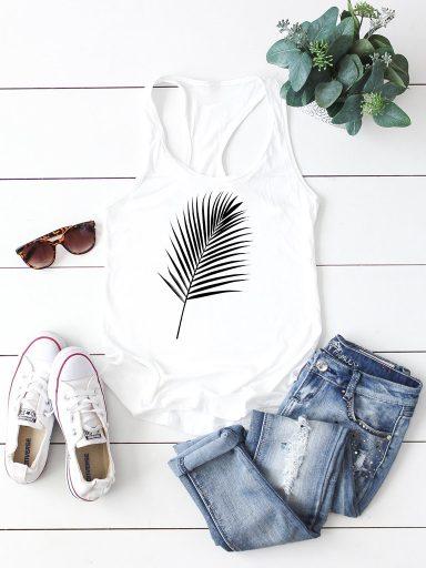 Biała koszulka na ramiączkach PALM Love&Live