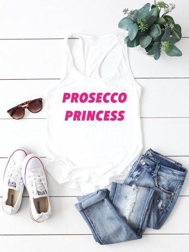 Biała koszulka na ramiączkach PROSECCO PRINCESS-2 Love&Live