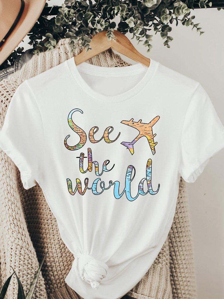 T-shirt biały SEE THE WORLD ZUZU