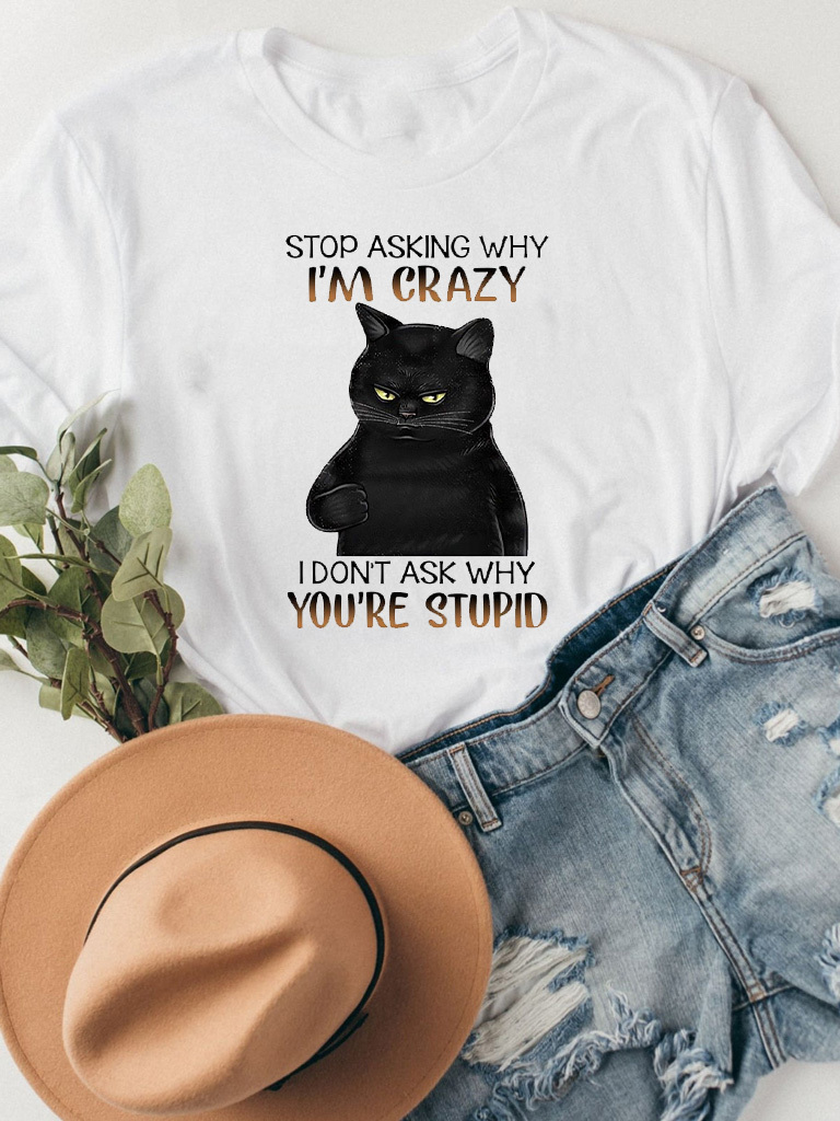 T-shirt biały STOP ASKING Katarina Ivanenko