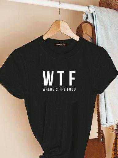 T-shirt czarny WHERE'S THE FOOD Love&Live