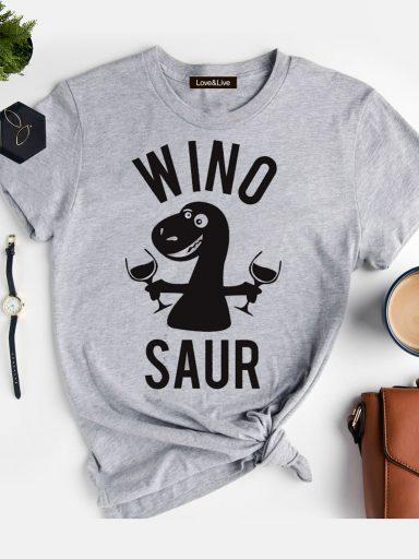 T-shirt szary WINOSAUR (BLACK) Love&Live