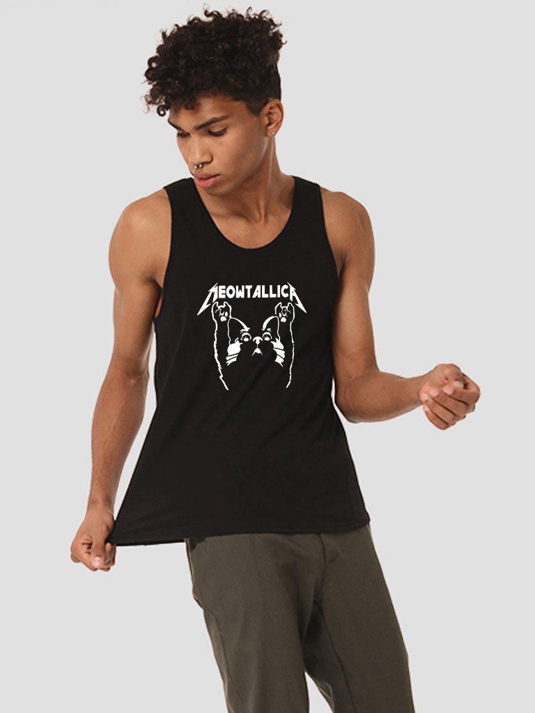 Koszulka męska bez rękawów czarna MEOWTALLICA Love&Live