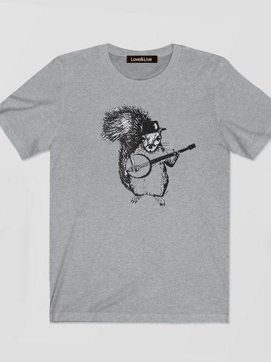 T-shirt męski szary WIEWIÓRKA Z Gitarą Love&Live