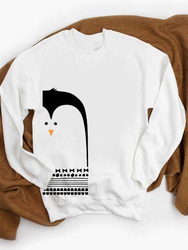 Bluza w kolorze białym DUŻY PINGWIN ZUZU