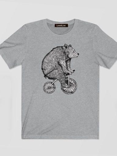 T-shirt męski szary Niedźwiedź na Rowerze Love&Live