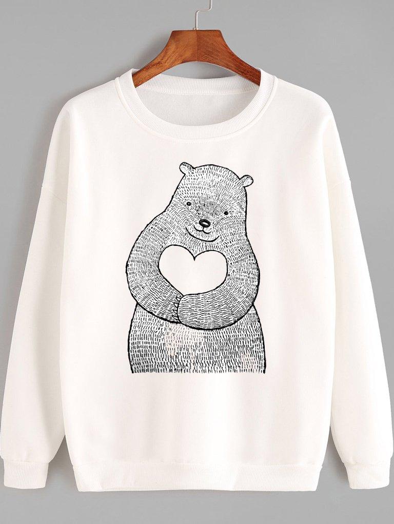 Bluza w kolorze białym Niedźwiedzia miłość Love&Live