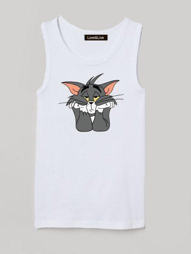 Koszulka na ramiączkach dla dzieci biała TOM Love&Live