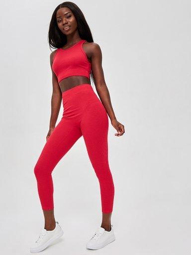 Strój fitness sportowy czerwony (top, legginsy) KATARINA IVANENKO