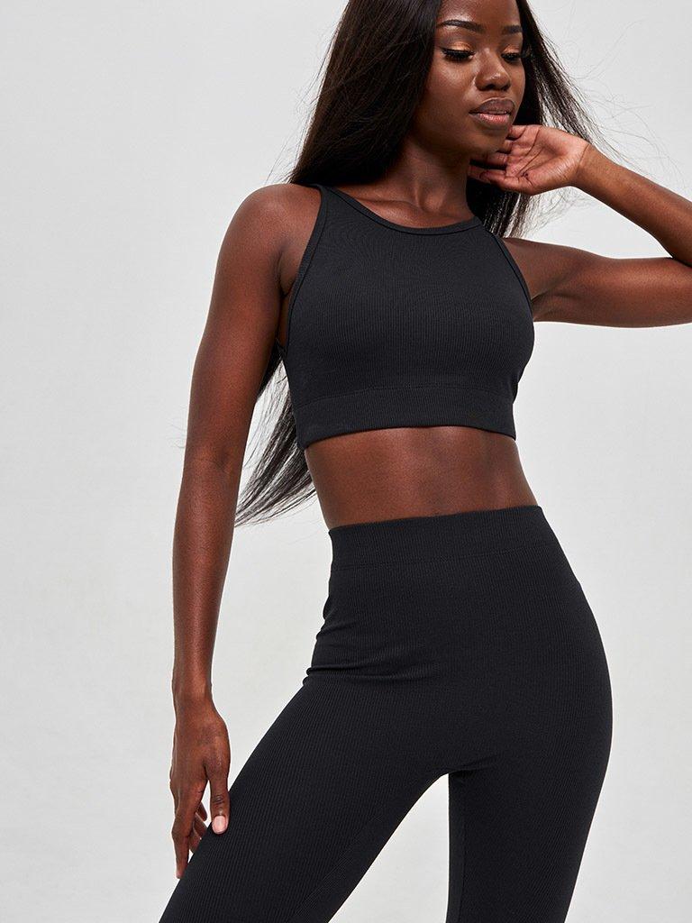 Strój fitness sportowy czarny (top, legginsy) KATARINA IVANENKO