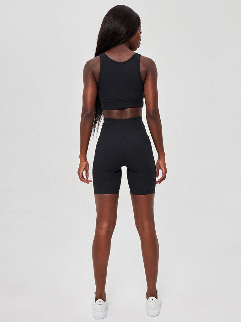 Strój fitness sportowy czarny (top, krótkie spodenki) KATARINA IVANENKO