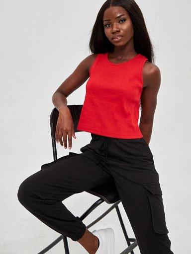 Czerwona koszulka w prążki KATARINA IVANENKO