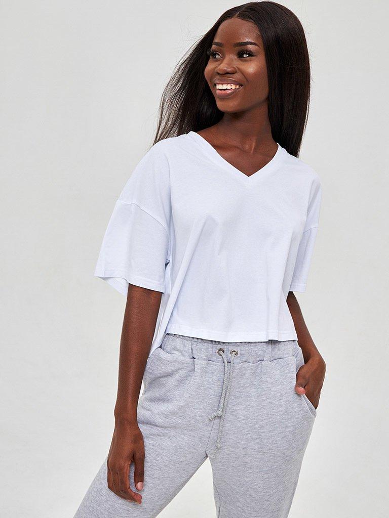 T-shirt biały z dekoltem w formie V LOVE&LIVE