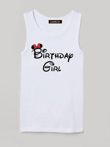 Koszulka na ramiączkach dla dzieci biała BIRTHDAY GIRL Love&Live