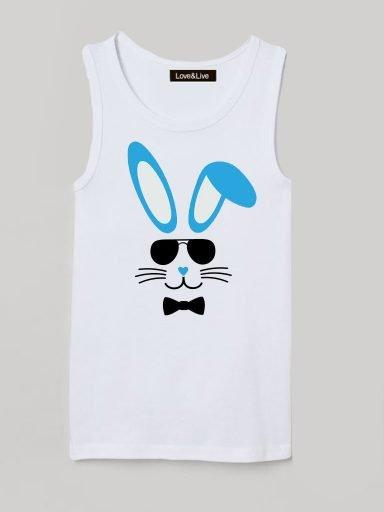 Koszulka na ramiączkach dla dzieci biała COOL BUNNY Love&Live