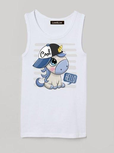 Koszulka na ramiączkach dla dzieci biała COOL UNICORN Love&Live