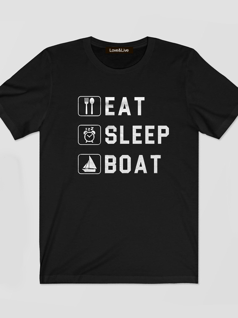 T-shirt męski czarny EAT, SLEEP, BOAT Love&Live
