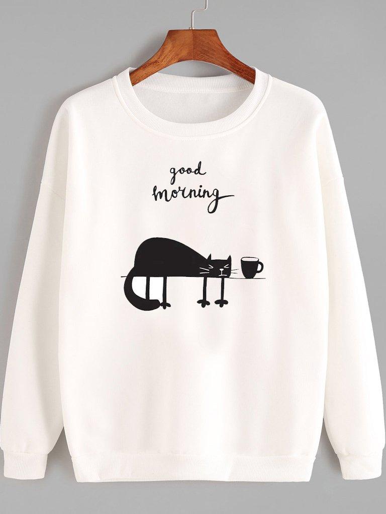 Bluza w kolorze białym GOOD MEOWNING Love&Live