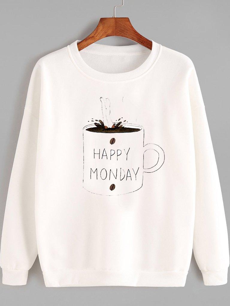 Bluza w kolorze białym HAPPY MONDAY Love&Live