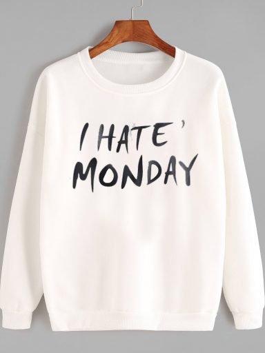 Bluza w kolorze białym I HATE MONDAY Love&Live