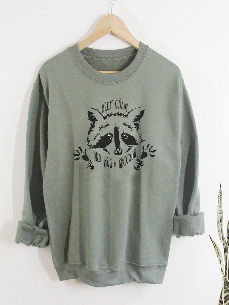 Bluza w kolorze oliwkowym KEEP CALM AND HUG RACCOON Love&Live