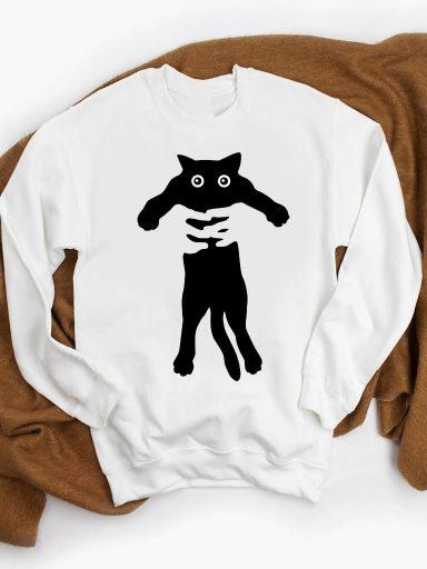 Bluza w kolorze białym KEEP CAT AND BE HAPPY ZUZU