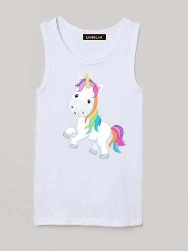 Koszulka na ramiączkach dla dzieci biała LET'S GO, UNICORN Love&Live