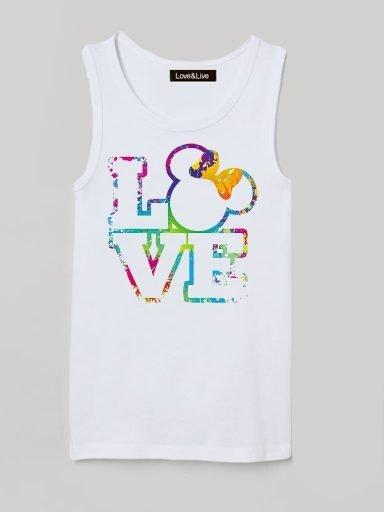 Koszulka na ramiączkach dla dzieci biała MINNIE LOVE Love&Live