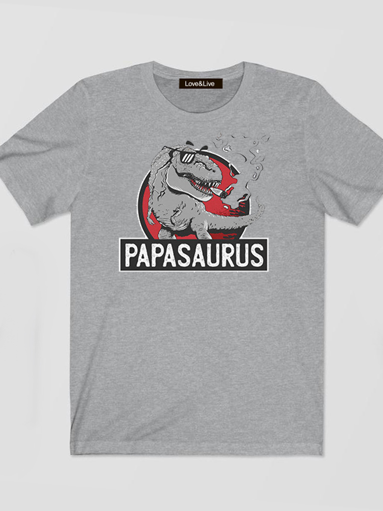 T-shirt męski szary PAPASAURUS Love&Live
