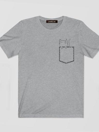 T-shirt męski szary POCKET CAT 2D Love&Live