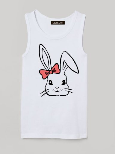 Koszulka na ramiączkach dla dzieci biała PRETTY BUNNY Love&Live