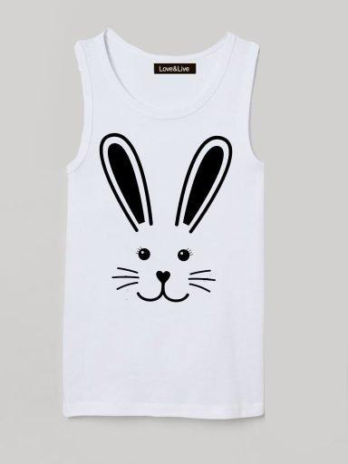 Koszulka na ramiączkach dla dzieci biała RABBIT Love&Live