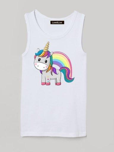 Koszulka na ramiączkach dla dzieci biała RAINBOW UNICORN Love&Live