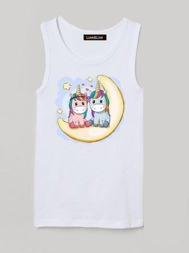Koszulka na ramiączkach dla dzieci biała UNICORNS ON THE MOON Love&Live