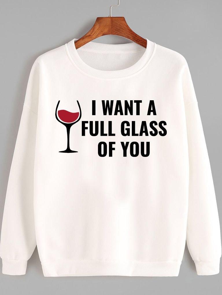 Bluza w kolorze białym I want a full glass Love&Live