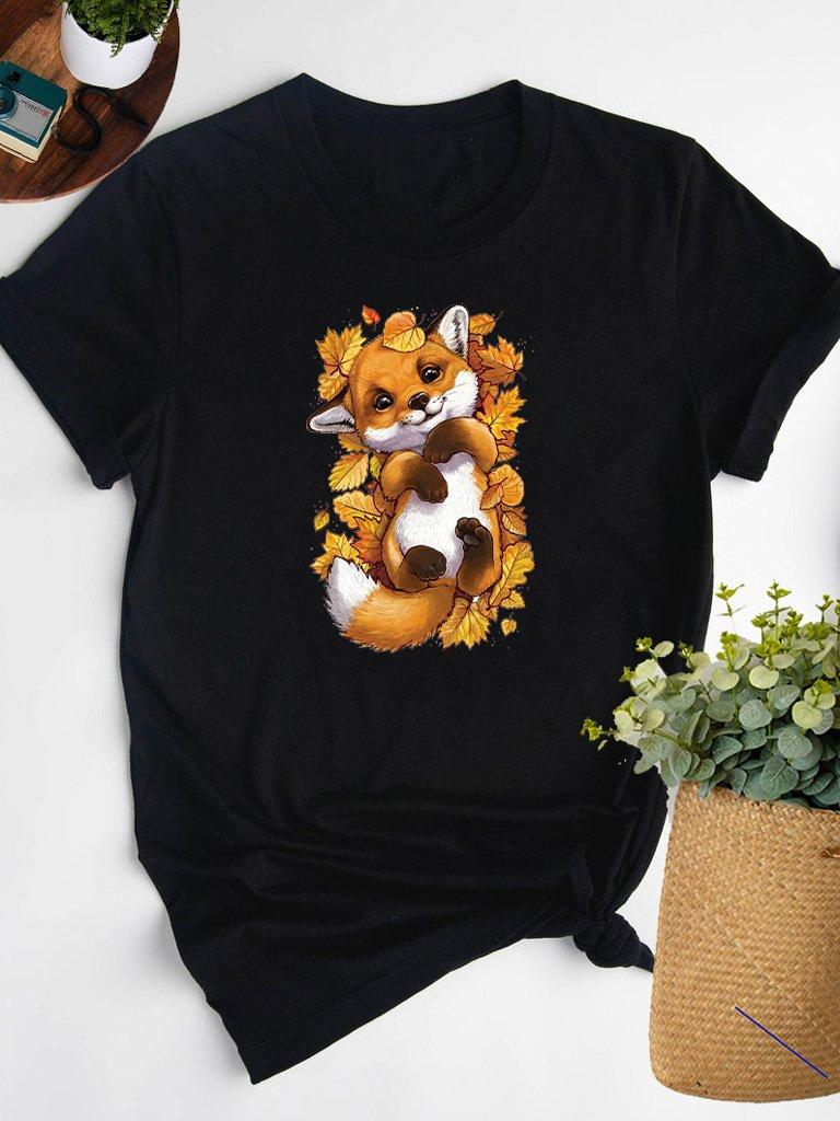 T-shirt czarny W LIŚCIACH Love&Live