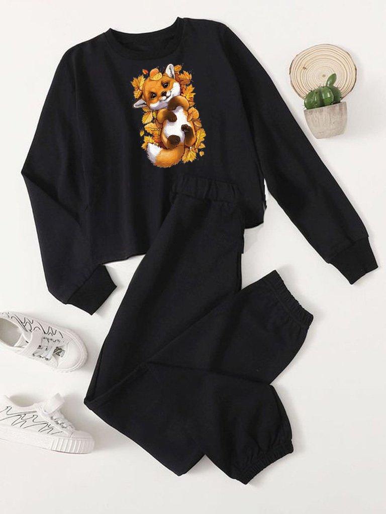 Czarny zestaw dresowy w liściach (bluza, spodnie) Love&Live
