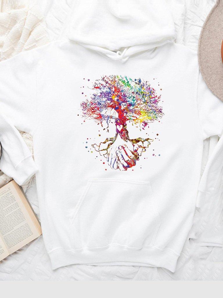 Bluza z kapturem w kolorze białym Drzewo życia Love&Live