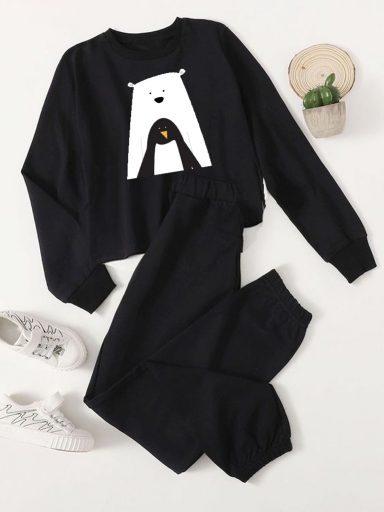 Czarny zestaw dresowy MÓJ ZIMOWY PRZYJACIEL (bluza, spodnie) Love&Live