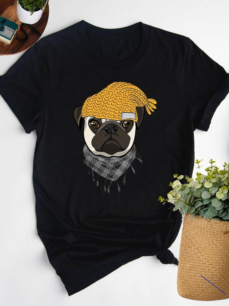 T-shirt czarny MOPS W CZAPCE Love&Live